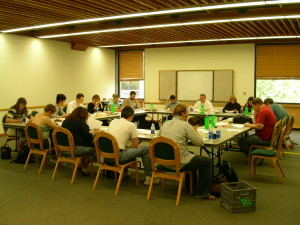 Orson Scott Card Literary Boot Camp Class of 2005. Thh empty chair is mine.